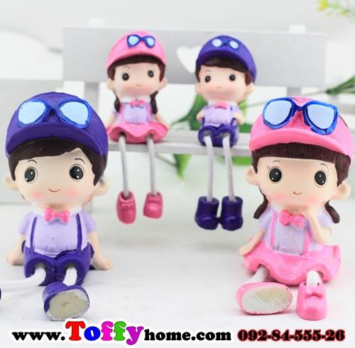 ตุ๊กตาเรซิ่นห้อยขาครอบครัว พ่อ แม่ ลูก ของแต่งบ้านยอดนิยม ขนาด 4*9.5 cm. , 6*16.5 cm.