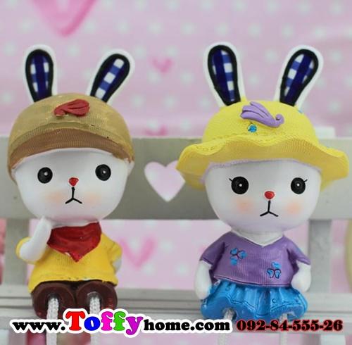 ตุ๊กตาเรซิ่นห้อยขากระต่ายน้อยหูยาวของแต่งบ้านน่ารักๆ ขนาด 5*15 cm.