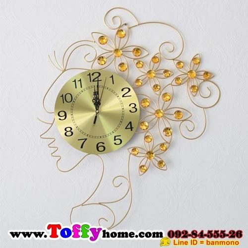 นาฬิกาแขวนผนังคริสตัลทองนางฟ้าแห่งกาลเวลา ขนาด 25*50*65 cm.