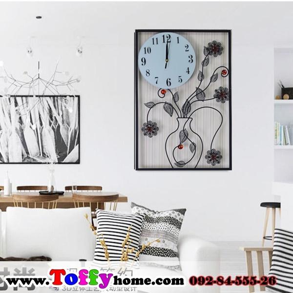 นาฬิกาติดผนังประดับคริสตัลแจกันดอกไม้สุดโมเดลของแต่งบ้านน่ารักๆ ขนาด 24*40*60 cm.