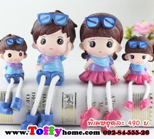 ตุ๊กตาเรซิ่นห้อยขาครอบครัวเด็กแว่น ขนาด 3.2*11 cm. , 6*10.5*17 cm.