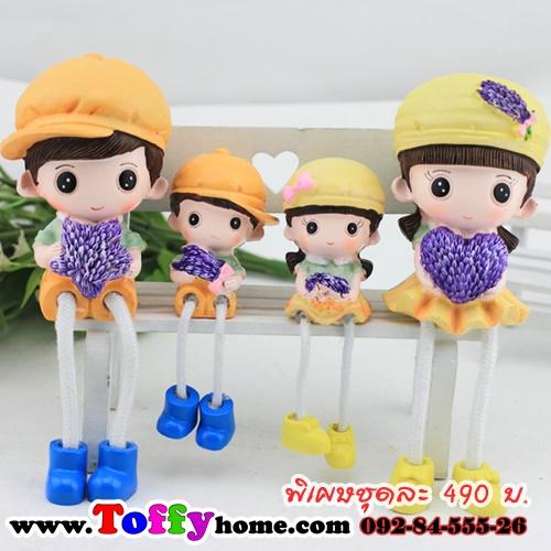 ตุ๊กตาเรซิ่นห้อยขาใส่ชุดเหลืองในวันพ่อ ขนาด 4*9.5 cm. , 6*16.5 cm.