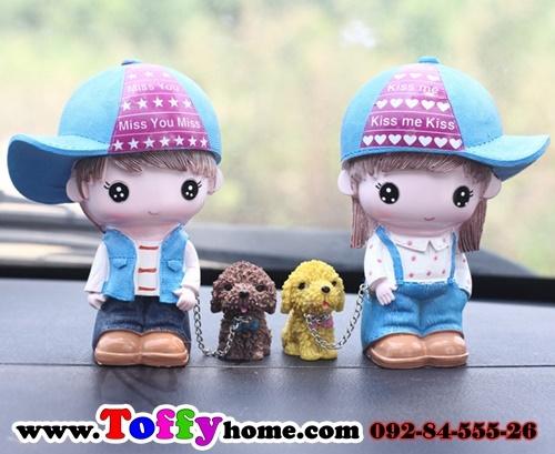ตุ๊กตาเรซิ่นน้องหมาที่น่ารักกับหนุ่มสาวสวีทหวาน ขนาด 8*12 cm.