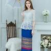 เดรสผ้าไทย(ผ้าทอดิ้นทองพื้นสีน้ำเงิน/ ลูกไม้ขาว)