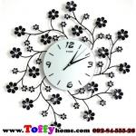 นาฬิกาติดผนังดอกไม้ร่ายรำประดับคริสตังเงินสุดทันสมัย ขนาด 24*53*53 cm.