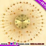 นาฬิกาแขวนผนังติดผนังคริสตัลทองสุดหรูหรา ขนาด 25*60*60 cm.