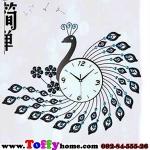 นาฬิกาแขวนผนังสุดหรูหราคริสตัลฟ้ากับนกยูงแสนสง่างาม ขนาด 24*64*78 cm.