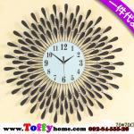 นาฬิกาติดผนังอาทิตย์ยามเย็นประดับคริสตัลเงินสุดคลาสสิคของแต่งบ้านสไตล์เก๋ๆหรูๆ ขนาด 25*70*70 cm.