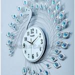 นาฬิกานกยูงคริสตัลเงินติดผนังตกแต่งบ้านหรู ขนาด 23.8*65*65 cm.