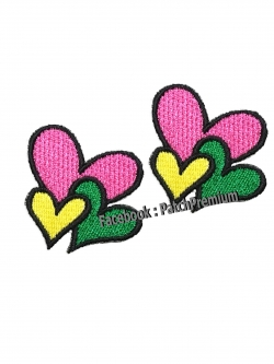 หัวใจ สีสันแห่งรัก ไซส์เล็ก (ขายเป็นคู่ๆละ 35บ.) - ตัวรีด (Size S)
