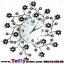 นาฬิกาติดผนังดอกไม้ร่ายรำประดับคริสตังเงินสุดทันสมัย ขนาด 24*53*53 cm. thumbnail 1